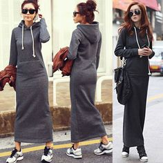 Hot Korean Women Winter Warm Long Sleeve Hooded Dress Hoodies Skirt Outwear Tops | eBay