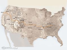 The Trans America Trail begins in eastern Tennessee working its way through Arkansas Oklahoma Kansas Colorado Utah Nevada and ending on the Oregon coast.