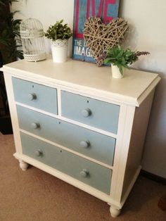 Victorian cedar chest made beautiful again, used annie sloan chalk paint in old white and a mix of duck egg blue