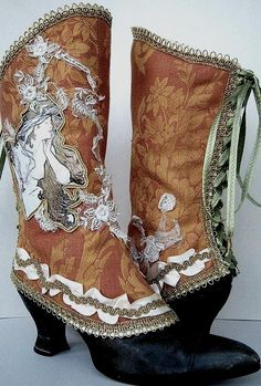 *these would be fun, given the right occasion* Beautiful handmade Spats, inspired by art nouveau. By - MaidesTreasuries Steampunk Shoes, Steampunk Design, Steam Punk, Art Nouveau Mucha, Gothic Boots, Art Nouveau Jewelry, Cool Boots, Crazy Shoes, Mode Outfits