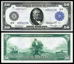 US 50 Dollar Note Series 1914 Philadelphia Serial# Signatures: Burke / McAdoo Panama between two ships Portrait: Ulysses S. Money Template, Federal Reserve Note, Rare Coins Worth Money, Money Notes, Dollar Money, Gold Money, Coin Worth, Old Coins, Antique Coins