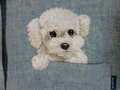 hiroko kubota embroidery puppy in a pocket : ) Hand Embroidery Stitches, Machine Embroidery Patterns, Crewel Embroidery, Ribbon Embroidery, Cross Stitch Embroidery, Thread Painting, Fabric Painting, Brazilian Embroidery, Stuffed Animal Patterns