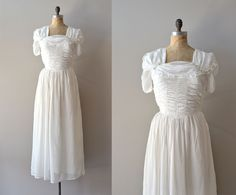 Much Ado dress vintage 1930s dress 30s wedding by DearGolden Vintage 1930s wedding dress with white chiffon bodice, short gathered and slightly puffed sleeves, small floral detail at each shoulder, square neckline, fitted waist and long layered skirt. metal side zip closure. a very lightweight and flowing skirt.