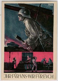IHR FÜR UNS - WIR FÜR EUCH - Feldpostkarte 1940 des Generalkommandos München,