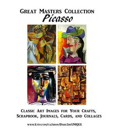Picasso Art Collage Kit, 12 Full Pages, Scrapbook Paper Ephemera Pack, Mural Kit, Vintage Junk Journ Famous Art Paintings, Cool Paintings, Pattern Art, Art Patterns, Rug Hooking Patterns, Quilting Patterns, Stitch Patterns, Picasso Art, Simple Prints