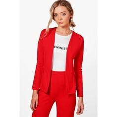 Boohoo Martha Collarless Blazer ($30) ❤ liked on Polyvore featuring outerwear, jackets, collarless blazer, puffy bomber jacket, wrap jacket, red puff jacket and red blazer jacket