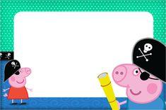Convite,Moldura e Cartão George Pig Pirata: