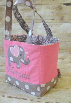 This personalized elephant bag is perfect for your little one when going to preschool, parks, day trips, car trips, grandparents, etc. Pack their snacks, toys, water bottle and they are ready to go. They will love carrying it around. The bag measures 7.5 x 7.5 x 5.25 and the