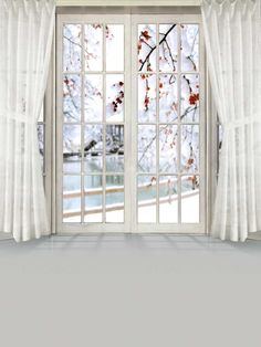 White Door Backdrops Indoor Photography Backdrops White Curtains S-2003