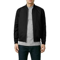 Topman Cotton Bomber Jacket ($80) ❤ liked on Polyvore featuring men's fashion, men's clothing, men's outerwear, men's jackets, black, mens fur lined bomber jacket, mens fleece lined jacket, mens cotton jacket and mens cotton bomber jacket
