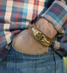 Mens Anchor Leather Bracelet. Anchor Leather by MenAccessory
