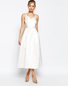 Image 1 ofJarlo Midi Prom Dress In Sateen With Mesh Inserts At Waist