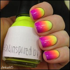 Reminds me of Lisa Frank. I have got to try this.   Neon yellow, orange, pink  purple gradient nail art