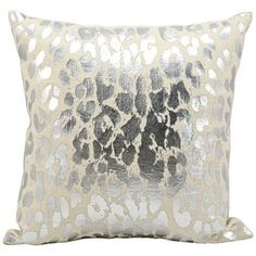 Kathy Ireland Metallic Leopard Silver Throw Pillow - Nourison are designed with a wild cheetah print remains untamed, while transforming into a sophisticated urban adventure, in this blazing silver print on foil cotton pillow collection. Throw Pillow Sets, Throw Pillows, Pillow Talk, Decor Pillows, Silver Pillows, Silver Bedding, Pink Pillows, Kathy Ireland, Cushion Pads