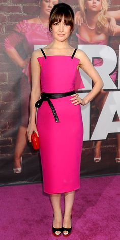 Rose Byrne in Prabal Gurung Fall 2011 dress, Louboutin peep-toes, and Kotur clutch at the L.A. premiere of 'Bridesmaids', April 2011