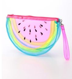 see through rainbow watermelon pouch My Bags, Purses And Bags, Use E Abuse, Cute School Supplies, Clear Bags, Cute Bags, Visual Kei, Backpack Bags, Cosmetic Bag