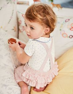 super cute frilled kids overalls Printed Ruffle Overalls #affiliate (if you click through this link I will receive a small commission)