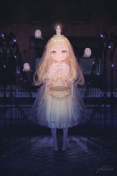 Anime picture original gomzi long hair single tall image blush looking at viewer fringe blonde hair standing holding signed full body outdoors parted lips night light silver eyes ghost cute 620760 en Loli Kawaii, Kawaii Art, Kawaii Anime Girl, Anime Oc, Anime Angel, Cool Anime Girl, Beautiful Anime Girl, Anime Art Girl, Chibi Manga