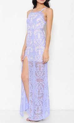 Taking My Time Lavender Light Purple Spaghetti Strap Square Neck Lace Open Tie Back Slit Maxi Dress