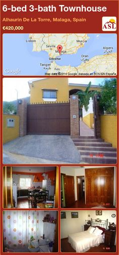 Townhouse for Sale in Alhaurin De La Torre, Malaga, Spain with 6 bedrooms, 3 bathrooms - A Spanish Life Malaga Airport, Malaga Spain, Beautiful Villas, Living Room With Fireplace, Murcia, Seville, Townhouse, Patio, Bathroom