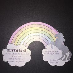 Unicorn Invitations, Rainbow, Pastel Rainbow, Unicorn Party