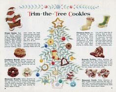 1958 Betty Crocker Country Kitchen Cookies Recipes Page Retro Recipes, Old Recipes, Vintage Recipes, Cookie Recipes, Christmas Ad, Christmas Baking, Christmas Cookies, Christmas Foods, Christmas Treats
