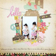 hello by:DECORU #スクラップブッキング Heritage Scrapbook Pages, Album, Sweet, Frame, Projects, Handmade, Ideas, Style, Candy