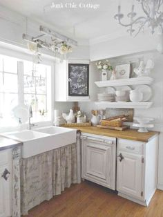 White Sink with Pretty Curtains