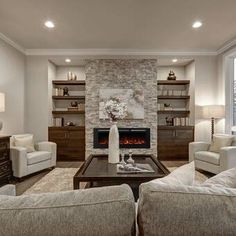 small living room layout with sectional , small living room layout ideas with tv , small living room layout with front door Fireplace Built Ins, Home Fireplace, Fireplace Remodel, Living Room With Fireplace, Living Room Grey, Fireplace Design, Home Living Room, Living Room Designs, Living Room Decor