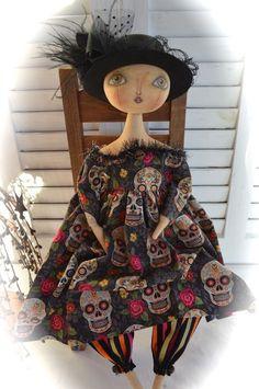 Primitive Folk Art Halloween Witch Doll ~Cheese Creek Primitives…