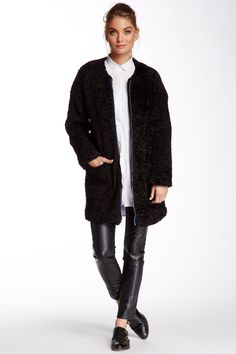 BCBG Faux Fur 3/4 Length Coat