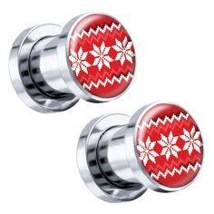 "Red Sweater Steel Screw-On Christmas Artisan Plugs 6G - 1"" - Pair"