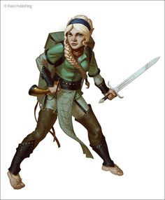 Nurah Dendiwhar, a halfling from the Pathfinder Wrath of the Righteous Adventure Path. Art by Jon Neimeister.