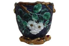 Large Majolica Wild Rose Cachepot