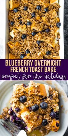 Soft and custardy on the inside with a crunchy oat topping, this blueberry overnight french toast bake makes brunch for a crowd! Prep it the night before so that the bread absorbs all the flavors; the next morning, simply pop it into the oven and bake it up. #sweetpeasandsaffron #overnight #mealprep #freezer #breakfast #holidays #frenchtoast #oven Overnight French Toast, French Toast Bake, Best Breakfast Recipes, Brunch Recipes, Crumble Topping, Lunch Meal Prep, Perfect Breakfast, Food For A Crowd, Freezer Meals