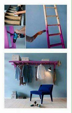 DIY Shelves Easy DIY Floating Shelves for bathroom,bedroom,kitchen,closet DIY bookshelves and Home Decor Ideas Easy Home Decor, Cheap Home Decor, Craft Ideas For The Home, Home Decoration, Ladder Storage, Diy Ladder, Ladder Shelves, Ladder Hanger, Storage Ideas