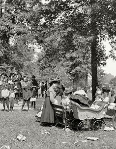 Detroit circa 1905. Children's playground at Belle Isle Park.