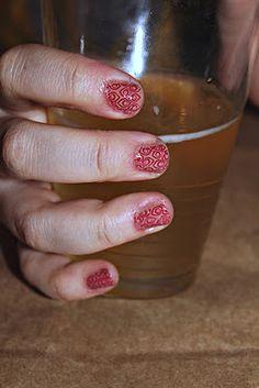 Stamped nail art.