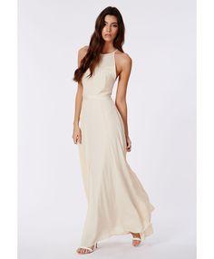 Kamilinka Side Lace Open Back Maxi Dress In Beige - Dresses - Maxi Dresses - Missguided