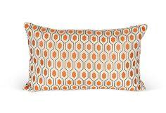 Orange Geometric Accent Lumbar Pillow
