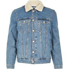 Stonewash fleece collar denim jacket - denim jackets - coats / jackets - men