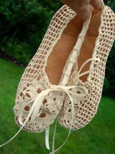 Hand Crocheted Bridal Ballet Slippers @ Afshan Shahid