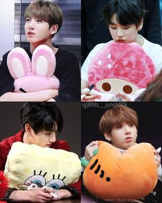 Jungkook with plushies