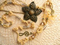 Necklace crochet with pendant Whispers of the Sand by JadAngel