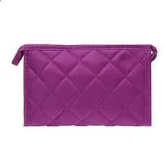 DZT1968(TM)Women Plaid Cloth Hand Pouch Bag With Zipper For Cosmetic Wash Make Up Universal Storage (Purple). View website for more description.