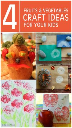 4 Interesting Fruits & Vegetables Craft Ideas For Your Kids; These activities will help your kid make interesting things as well as educate them about the health benefits of each food ingredient used.