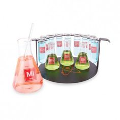 If you're the kind to experiment with your mixed drinks, the Science Chemistry Shot Glass Set will make the perfect addition to your home bar/laboratory. The set includes 14 1 fl. oz. test tubes, three 2 fl. oz. beaker, and one 10 fl. oz. beaker for mixing your concoctions. Everything fits perfectly on the unique metal serving rack #965715 $62.99 www.lambertpaint.com