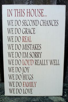 Custom Handpainted Rustic Wooden House Rules Sign - We Do.... $45.00, via Etsy.