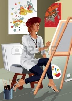 Profession set: artist painter - Saved in format. You can use any vector compatible software to open/modify/use the file. Scalable to any size without loss of quality. Visit our gallery for more professions. Vector Portrait, Music Files, Poster On, Clipart, Vector Art, About Me Blog, Stock Photos, Canning, Illustration