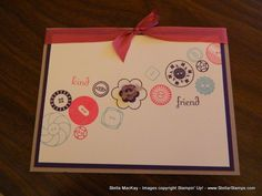 Stampin Up Button, Button and Fabulous Phrases sets with ribbon and button embellishments